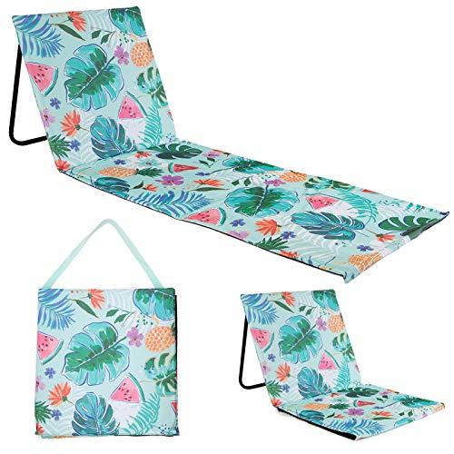 just be... Tapete de playa reclinable plegable para verano, portátil, ligero, silla de jardín, parque festival, picnic, tumbona, respaldo tropical