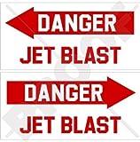 DANGER JET BLAST Aircraft Helicopter USAF 4' (100mm) Vinyl Stickers, Decals x2