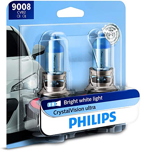 Philips Automotive Lighting 9008 / H13 CrystalVision Ultra Upgraded Bright White Headlight Bulb, 2 Pack (9008CVB2)