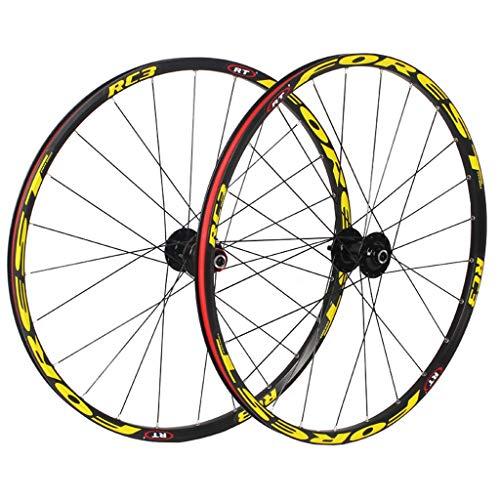 KZEE MTB Bike Wheelset 27.5 Inch, Double Wall Aluminum Alloy MTB Rim Hybrid/Mountain Disc Brake 24 Hole Compatible 8/9/10/11 Speed Wheels (Color : Yellow, Size : 27.5 inch)