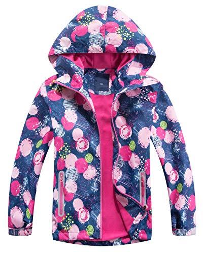 Happy Cherry - Chaqueta con capucha para niño, cortavientos, impermeable, para niño, niña, chaqueta media temporada, estampada Bleu Rose 11-12 Años