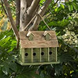 "Glitzhome 14.25""L Wood Hanging Birdhouse for Outdoors Oversized Distressed Cottage Painted Bird House Rustic Weatherproof Bird House for Bluebird Wren Chickadee Sparrow Bird Nest Box for Garden Patio"