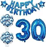 Globos Cumpleaños 30 Años Decoracion Cumpleaños Azul Globo de Confeti 30 Fiesta de Cumpleaños Globos Numeros 30 Gigantes 101cm Helio Globos Decoracion Cumpleaños Decoración…