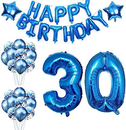 Youngneer Globos Cumpleaños 30 Años Decoracion Cumpleaños Azul Globo de Confeti 30 Fiesta de Cumpleaños Globos Numeros 30 Gigantes 101cm Helio Globos Decoracion Cumpleaños Decoración