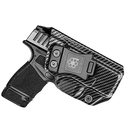 Amberide IWB KYDEX Holster Fit: Springfield Armory Hellcat | Inside Waistband | Adjustable Cant | US KYDEX Made (Black Carbon Fiber, Left Hand Draw (IWB))