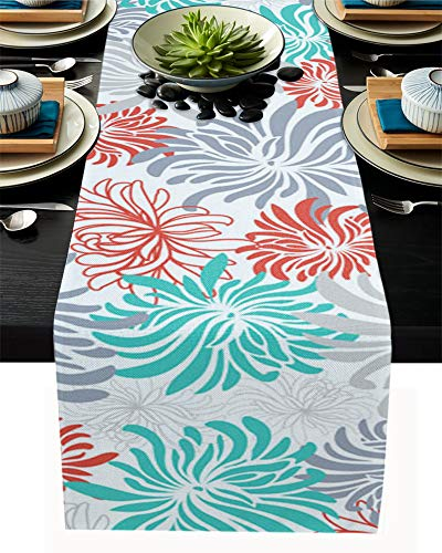 FAMILYDECOR Camino de mesa de arpillera de lino, 35,5 x 182,8 cm, diseño de crisantemo de mármol rojo y blanco, verde, para fiestas de vacaciones, comedor, cocina, decoración de boda