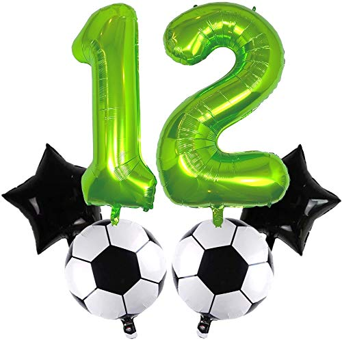 DIWULI, juego de globos de fútbol grandes, globo número 12 XXL verde, balón de fútbol de lámina, globo estrella negro, 12º cumpleaños infantil, fiesta temática, decoración, globo de lámina, deportes