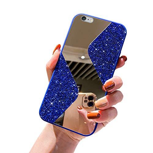 URFEDA Compatible avec iPhone 6 Plus/6S Plus Coque en Silicone de Miroir Glitter Paillette Brillant Strass Bling Etui Souple TPU Gel Case Anti-Rayures Antichoc Bumper Coque Housse de Protection,Bleu