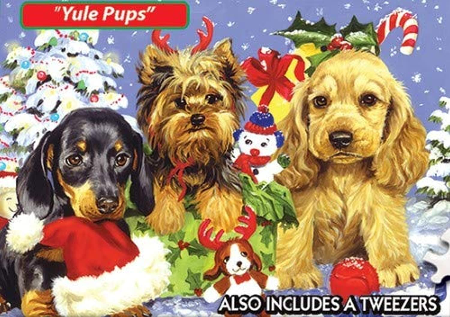 World's Smallest-Yule Pups Jigsaw Puzzle 234 Pieces 4 X6  TDC Games TDC7182