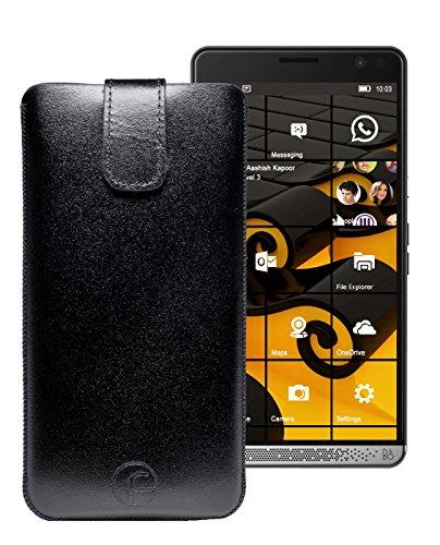 Original Favory Etui Tasche für | HP Elite X3 | Leder Etui Handytasche Ledertasche Schutzhülle Hülle Hülle Lasche mit Rückzugfunktion* in schwarz