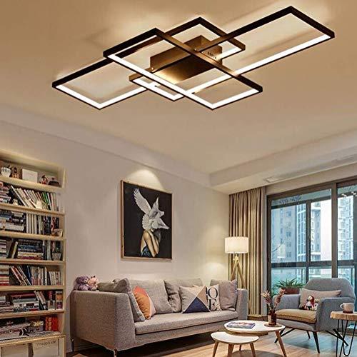 LED Deckenleuchte Wohnzimmerlampe Deckenlampe 80W Rechteck Modern desig Lampen 3000k warmweiss Lampe decke für Wohnzimmer Schlafzimmer Küche Esszimmer Badezimmer Büro Balkon Flur 90×50cm (schwarz)