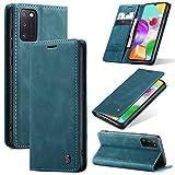 KONEE Hülle Kompatibel mit Samsung Galaxy A41, Lederhülle PU Leder Flip Tasche Klappbar Handyhülle mit [Kartenfächer] [Ständer Funktion], Cover Schutzhülle für Samsung Galaxy A41 - Blaugrün