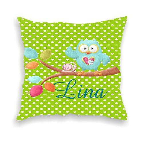 wolga-kreativ Kissen-bezug Deko-Kissen Eule AST grün 40x40 cm incl. Füllung Namenskissen Geschenk-e Baby-Kissen Kinder-Kissen Kinderzimmer Babyzimmer Mädchen Junge-n mit Namen (glatt)