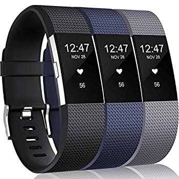 Wepro Bands Replacement Compatible with Fitbit Charge 2 for Women Men Small 3 Pack Sports Watch Band Strap Wristband Compatible with Fitbit Charge2 HR Fitness Tracker Black/Gray/Navy Blue