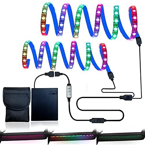 Tira de luz LED,tira de luz RGB para scooter eléctrico con controlador de 3 teclas y caja de baterías,2 tiras de LED plegables para luz decorativa de seguridad para scooter/bicicleta (2×1.64ft)