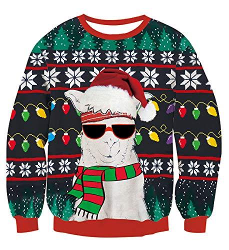 NEWISTAR Weihnachtspullover 3D Gedruckt Unisex Druck Pullover Weihnachten Pullover Ugly Christmas Sweater
