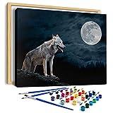 AiN Katy - Mond Wolf - Malen Nach Zahlen DIY - Bastelset