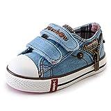 Daclay Kinderschuhe Jungen Mädchen Segeltuchschuhe Frühlingsschuhe Kühle Metallreißverschluss Mittlere kleine Kinder Niedriger Denim Einzelne Schuhe (30 EU,Light Blue)