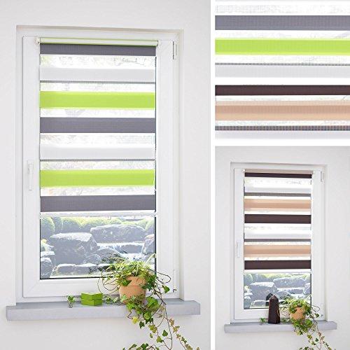 HOMELIA Klemmfix Duorollo, Doppelrollo 3-farbig mit Klemmträger / 120 x 160 grün-grau-weiß/Farben: grün-grau-weiß, braun-beige-weiß