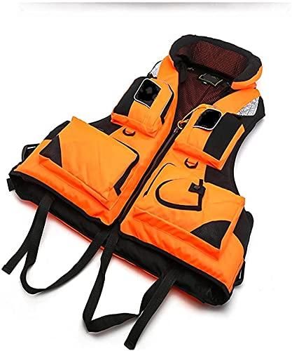 Chaleco Salvavidas De Flotador, Adultos Profesionales Chaleco De Vida Ayuda De Flotabilidad Chaleco para Hombres Mujeres, Pesca Drifting Nadar Chaleco Flotante (Color : Orange, Size : XL)