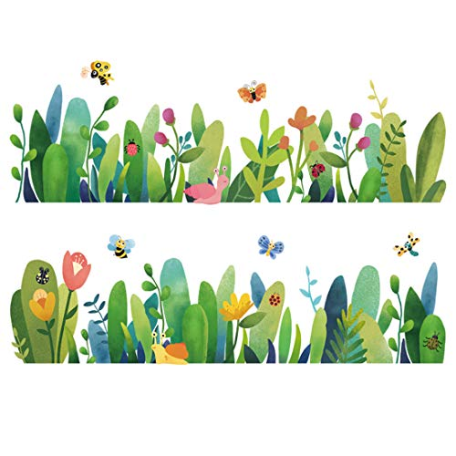 Pastoral green leaves, skirting feet, skirting lines, watercolors, plants, flowers, living room, decoration, sticky wall stickers.