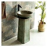 lavabo con pie retro exterior, Fregadero de pedestal cerámica estilo industrial con combinación grifo y desagüe, lavamanos...