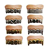 X Hot Popcorn 12 Pcs Funny Gold Teeth Ugly Fake Teeth Prank Toy Plastic Troubled Teeth, for Halloween Christmas Decoration
