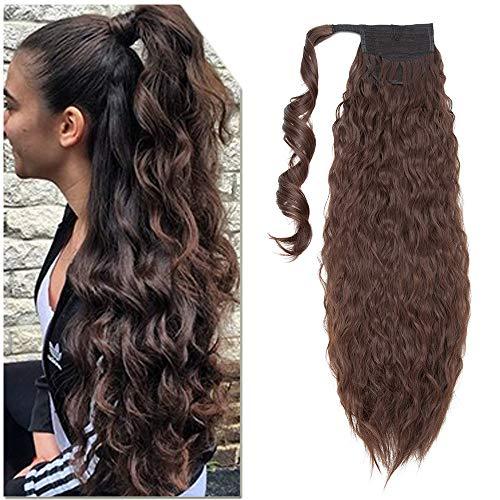 Elailite Coda di Cavallo Extension Clip Capelli Ricci Finti Fascia Unica Ponytail Hair Extensions Posticci Donna Sintetici Lunghi 65cm Pesa 110g - Marrone Cioccolato