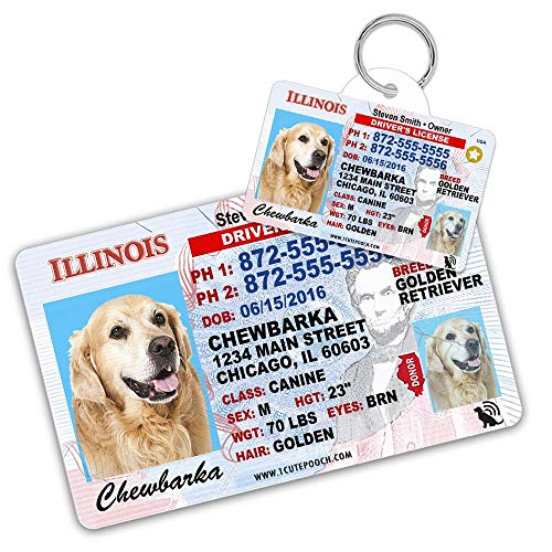 Illinois Driver License Custom Dog Tag for Pets and Wallet Card - Personalized Pet ID Tags - Dog Tags for Dogs - Dog ID Tag - Personalized Dog ID Tags - Cat ID Tags - Pet ID Tags for Cats