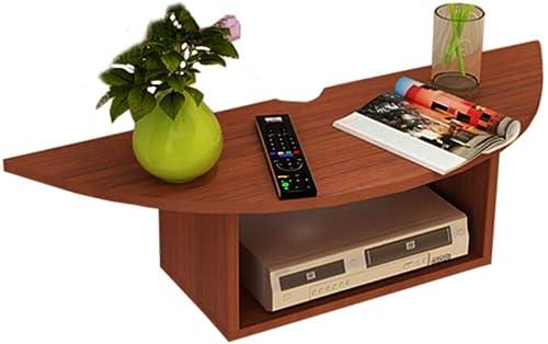 Willesego Schwimmrahmen TV Konsole Set Top Box Regal Wandhalterung Wohnzimmer Videowand Spanplatte, 3 Farben (Farbe  Holzfarbe, Größe  60  20  10cm) (Farbe   braun-rot, Größe   60  20  10cm)