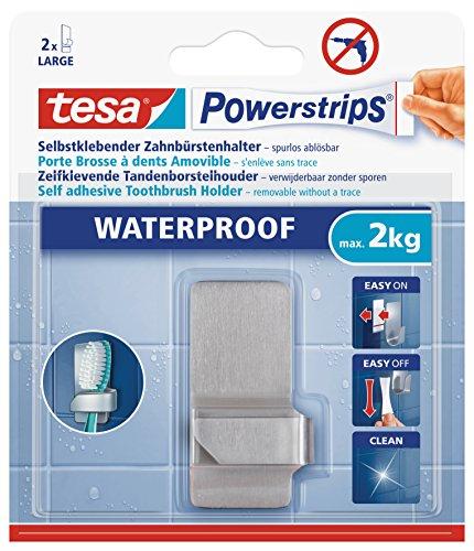 Tesa Powerstrips Crochet Rectangulaire Waterproof porte-brosse à dents métal + 2 languettes Waterproof Métal