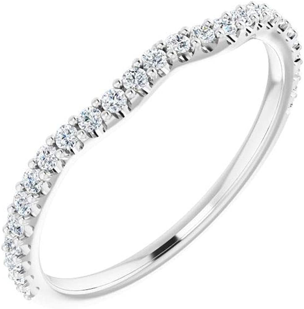 Solid 14k White Gold 1/4 Cttw Diamond Curved Notched Wedding Band for 7x5mm Oval Ring Guard Enhancer - Size 7 (.25 Cttw)