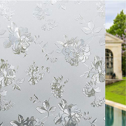 TopJiDecoratie melkglas raamstickers, statische hechting zelfklevend privacy glas folie anti-uv warmtecontrole voor thuis kantoor deur raam 120x200cm(47.2x78.7inch) bloem