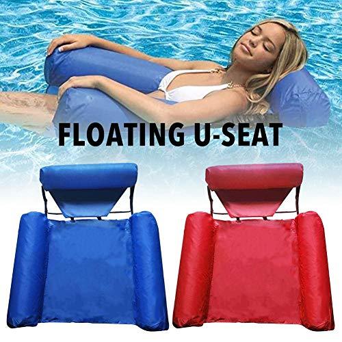 wendaby Aufblasbarer Sessel für Pool Kinder Erwachsene Outdoor Aufblasbare Hängematte Wasser Hängematte Ultrabequeme Lounge Stuhl Schwimmsofa U-Sitz mit Stoffbezug Faltbare Dual-Use-Rückenlehne