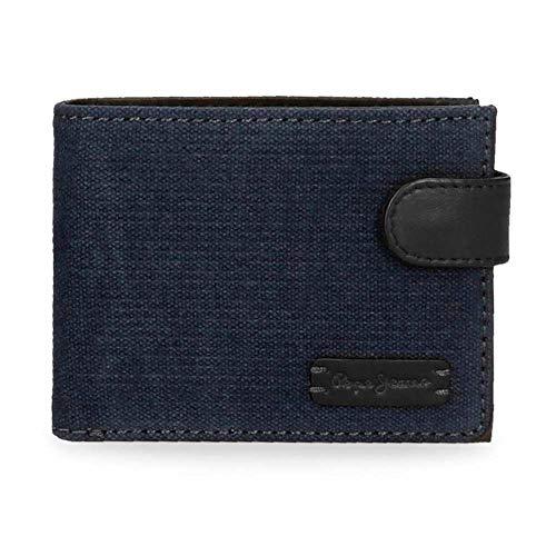 Pepe Jeans Royce Brieftasche mit Clic-Verschluss Blau 11x8,5x1 cms Leinwand