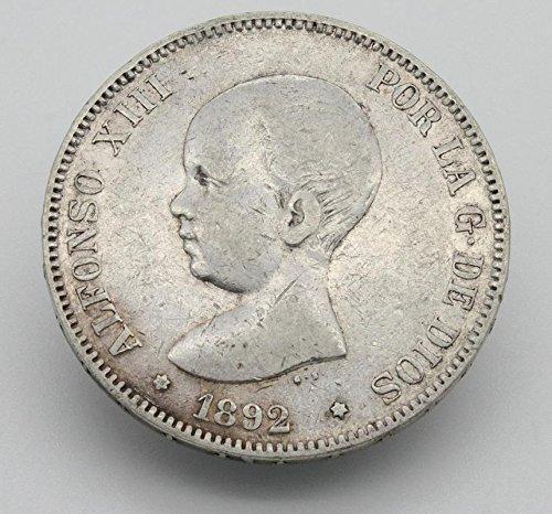Desconocido Moneda de 5 Pesetas de Plata del Año 1892 Durante La Epoc