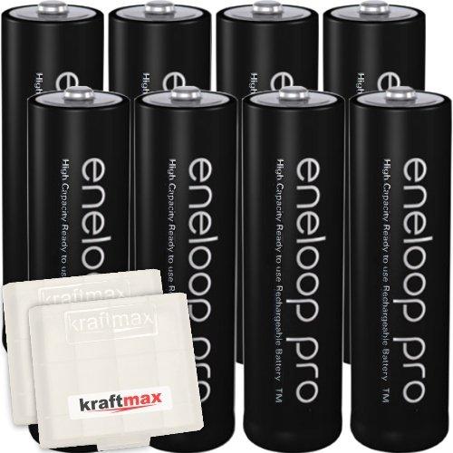 8er Pack Panasonic Eneloop PRO XX AA/Mignon Akkus - Neueste Generation - 2550 mAh Hochleistungs Akku Batterien in Kraftmax Akkubox V5