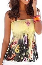 Women Sexy Floral Print Tube Bra Style Elastic Strapless Tee Shirt Tops (M, Yellow)
