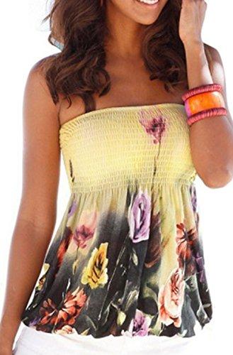 Women Sexy Floral Print Tube Bra Style Elastic Strapless Tee Shirt Tops (XL, Yellow)
