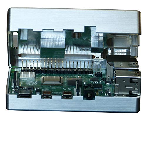 MANOUII Raspberry Pi 4 passiv Alu Metall Gehäuse Case kein Lüfter erforderlich Aluminium Kodi Retropie