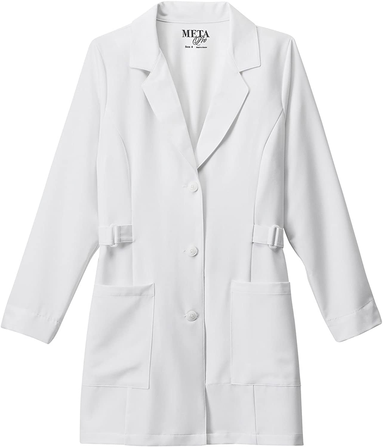 Meta 883 Women's 32 Buckle TriBlend Stretch Lab Coat White 20