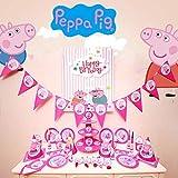 Peppa Pig - Vajilla para fiesta de cumpleaños infantil (145 piezas), diseño de Peppa Pig