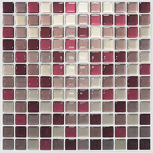 remecle キッチンタイル シール モザイクタイル 【簡単に貼れる】 24cmx24cm 8枚セット ウォールステッカー 耐熱 アルミニウムフィルム ガラスショコラ 「takumu」 tiles13t8