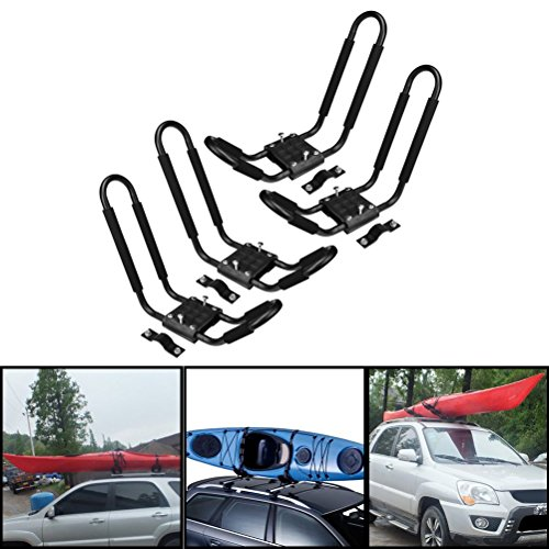 ECOTRIC J-Bar 2 Pairs Universal Kayak Canoe Top Mount Carrier Roof Rack Boat SUV Van Car with One Year Warranty