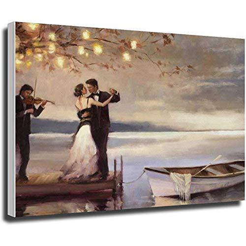Jack Vettriano Crepúsculo Romance - Póster de lienzo y pared con impresión moderna para dormitorio familiar, diseño de cartel sin marco (60 x 90 cm)