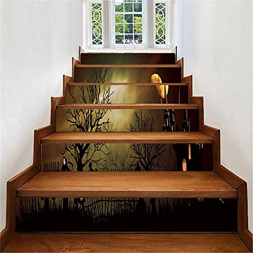 MVNZXL Pegatinas de Escalera, 6 Piezas de Pegatinas de Escalera encantadas de Halloween, 3D extraíble Autoadhesivo para Escalera elevadora Pegatina de Vinilo calcomanía Mural Papel Tapiz(Color:10)
