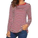 STRIR Camiseta para Mujer,Mujeres Originales Manga Larga Cuello Redondo Camiseta Básica Rayas Blusa Túnica Tops (S, Rojo)