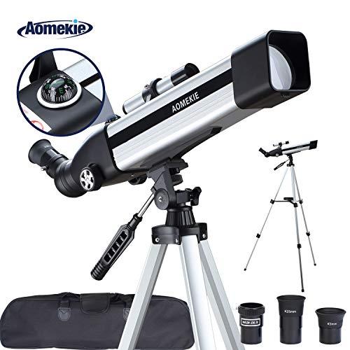 Aomekie Telescopio Astronómico 70/400 Telescopios para Niños con Adaptador de Teléfono 10X...