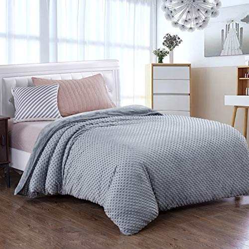 Royhom Duvet Cover for Weighted Blankets 60 x 80 Inches - Removable Weighted Blanket Cover - Soft Minky Dot, Gray
