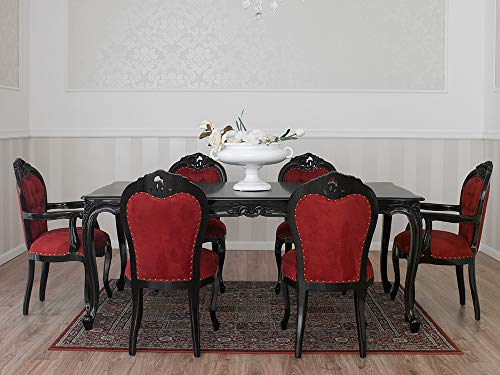 SIMONE GUARRACINO LUXURY DESIGN Table à Manger Merton Style Baroque Dark rectangulaire Noir laqué